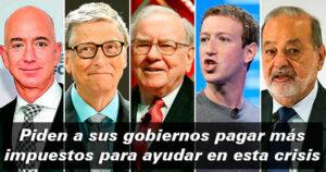 83 millonarios del mundo piden a sus gobiernos pagar más impuestos