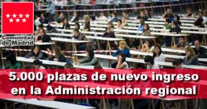La Comunidad de Madrid aprueba 5.000 plazas de nuevo ingreso