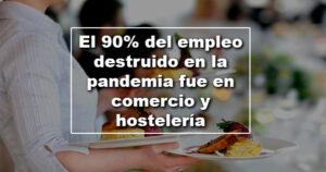 El 90% del empleo destruido en la pandemia fue en comercio y hostelería